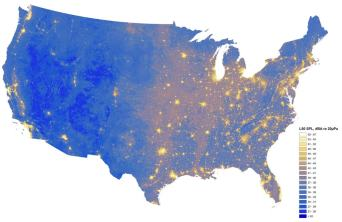 Map of existing sound conditions, where bright areas represent locations with high noise impact